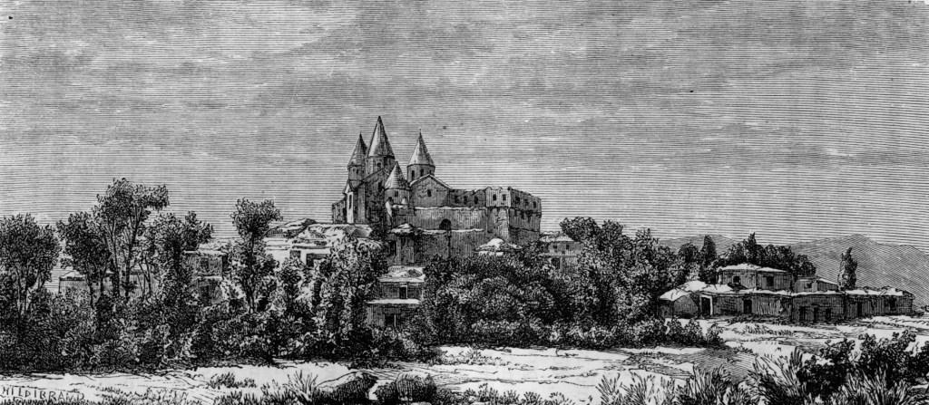 """Il Monastero di Narek - Incisione da """"Viaggio nell'Armenia e nel Lazistan"""" di Teofilo Deyrolle (Milano, 1877)"""