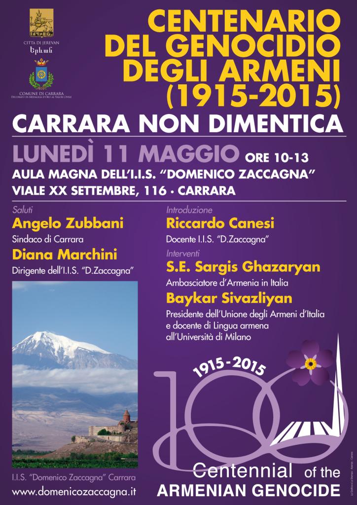 Manifesto Conferenza Genocidio Armeni 11 maggio 2015 Carrara