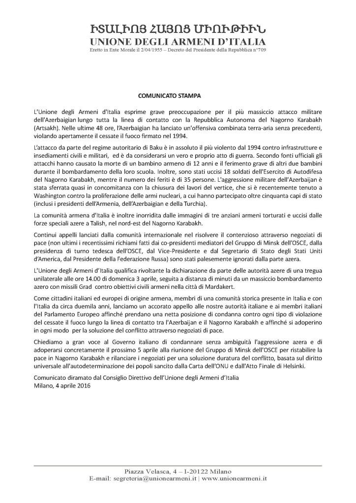 Comunicato Stampa - Unione degli Armeni d'Italia
