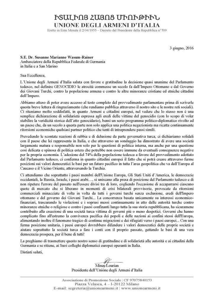 Lettera a S.E. Ambasciatore della Germania - 03.06.2016