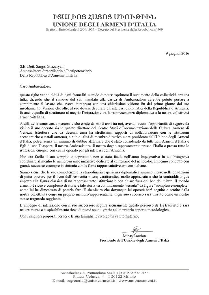 Saluto all'Ambasciatore Ghazaryan - 9 giugno 2016